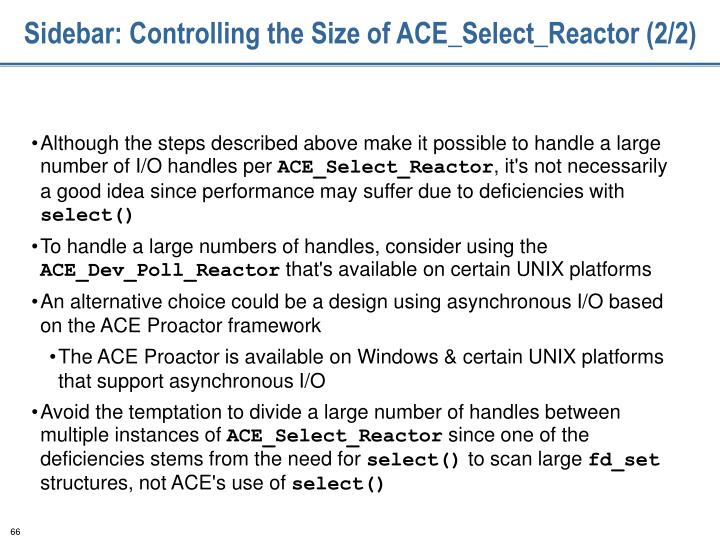 Sidebar: Controlling the Size of ACE_Select_Reactor (2/2)