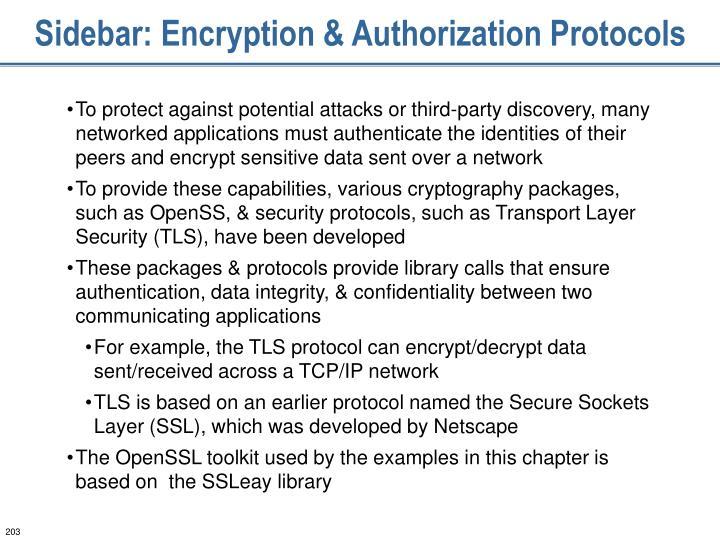 Sidebar: Encryption & Authorization Protocols