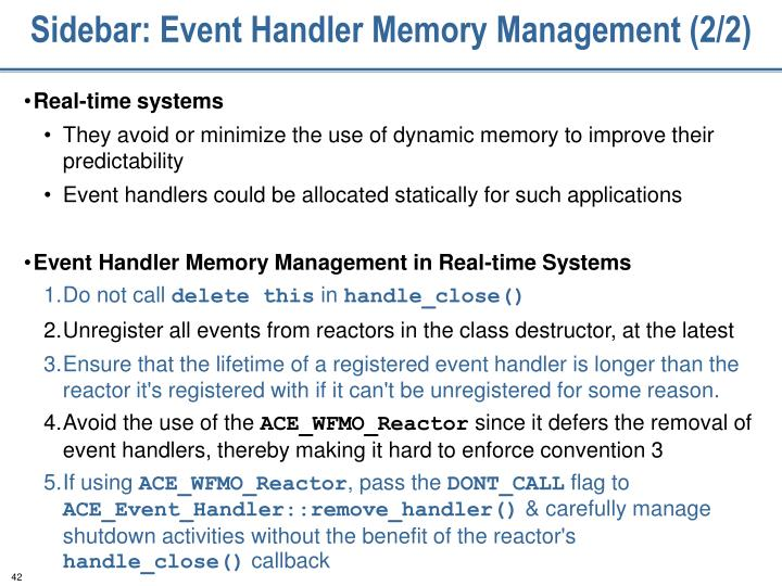 Sidebar: Event Handler Memory Management (2/2)