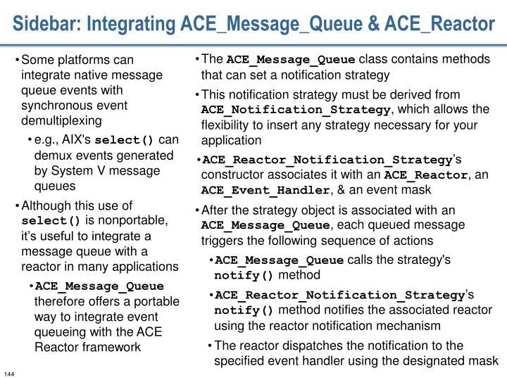 Sidebar: Integrating ACE_Message_Queue & ACE_Reactor