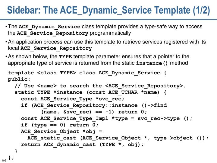 Sidebar: The ACE_Dynamic_Service Template (1/2)