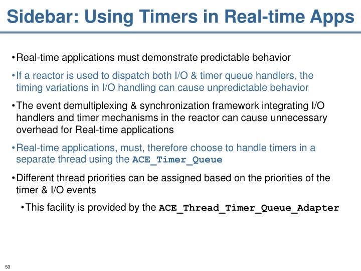 Sidebar: Using Timers in Real-time Apps