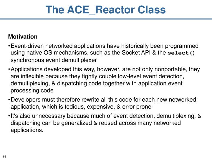 The ACE_Reactor Class