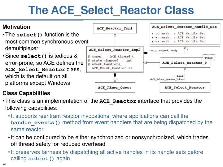 The ACE_Select_Reactor Class