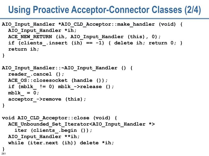Using Proactive Acceptor-Connector Classes (2/4)