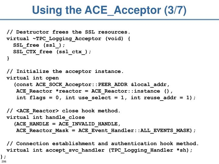 Using the ACE_Acceptor (3/7)
