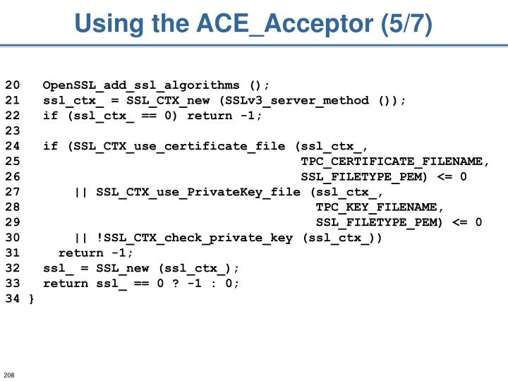 Using the ACE_Acceptor (5/7)