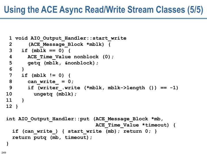 Using the ACE Async Read/Write Stream Classes (5/5)