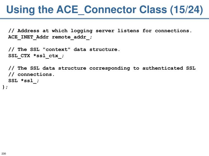 Using the ACE_Connector Class (15/24)