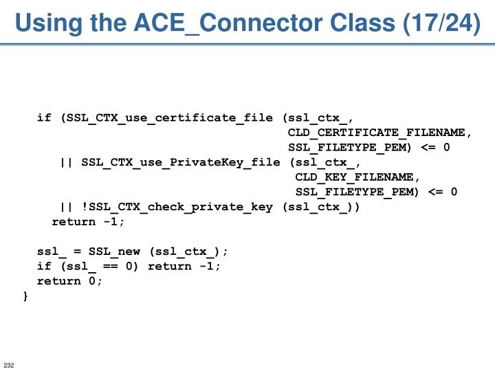 Using the ACE_Connector Class (17/24)
