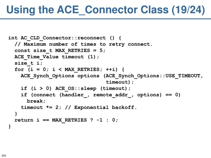 Using the ACE_Connector Class (19/24)