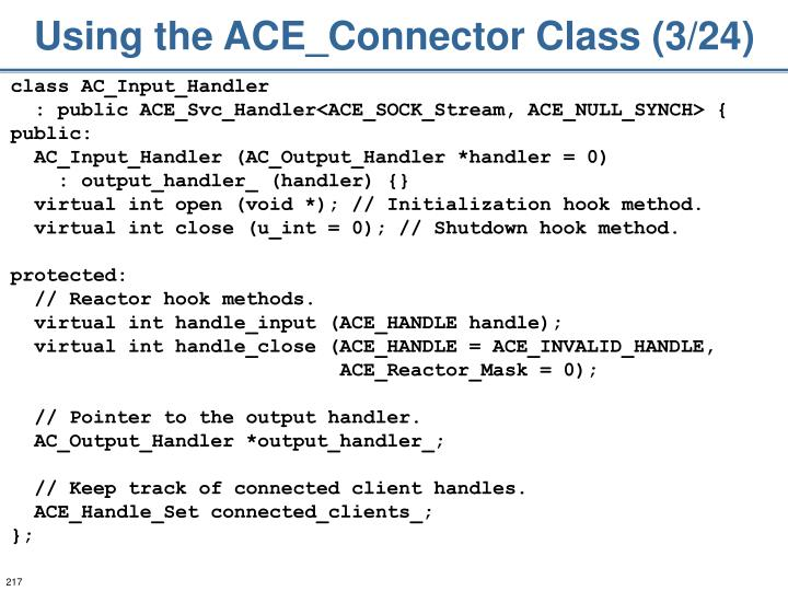 Using the ACE_Connector Class (3/24)