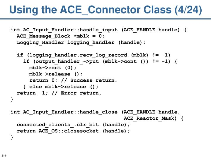 Using the ACE_Connector Class (4/24)
