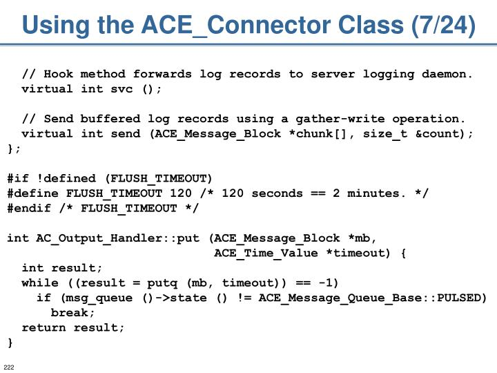 Using the ACE_Connector Class (7/24)
