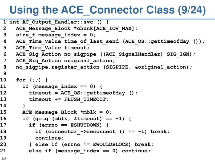 Using the ACE_Connector Class (9/24)