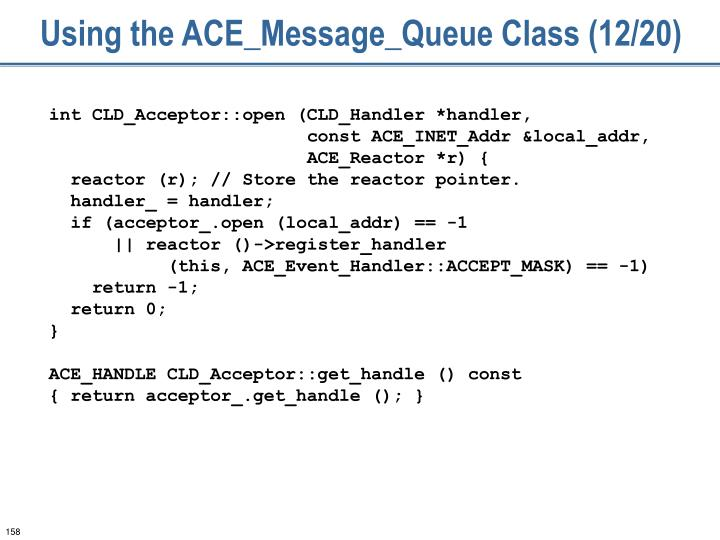 Using the ACE_Message_Queue Class (12/20)