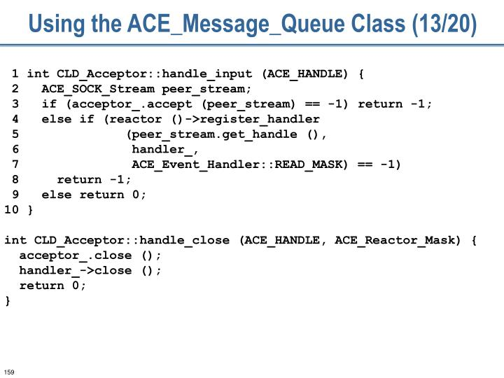 Using the ACE_Message_Queue Class (13/20)
