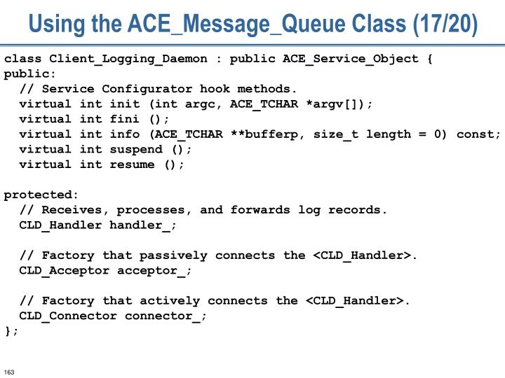 Using the ACE_Message_Queue Class (17/20)