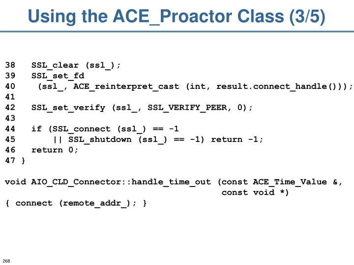 Using the ACE_Proactor Class (3/5)