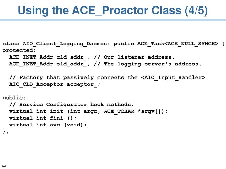 Using the ACE_Proactor Class (4/5)