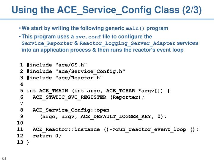 Using the ACE_Service_Config Class (2/3)
