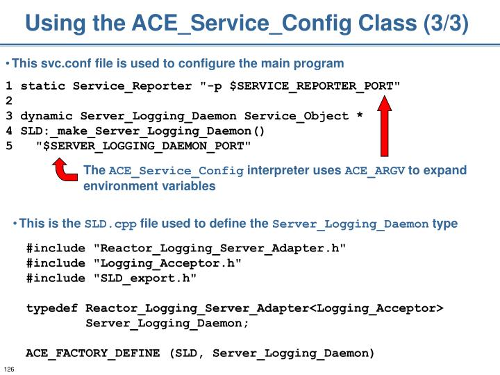 Using the ACE_Service_Config Class (3/3)
