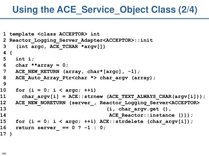 Using the ACE_Service_Object Class (2/4)