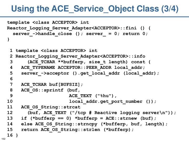 Using the ACE_Service_Object Class (3/4)