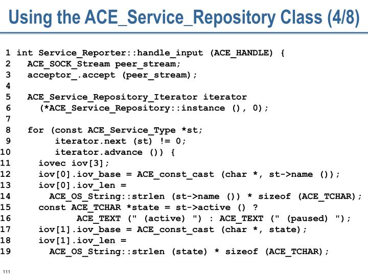 Using the ACE_Service_Repository Class (4/8)