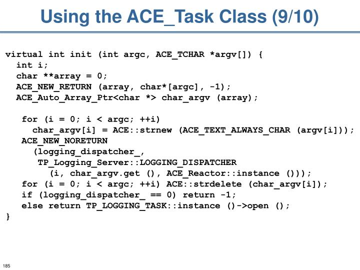 Using the ACE_Task Class (9/10)