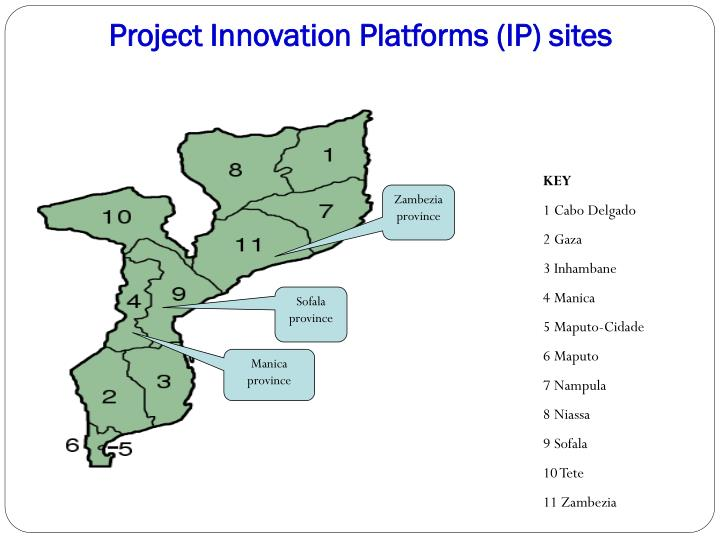 Project Innovation Platforms (IP) sites