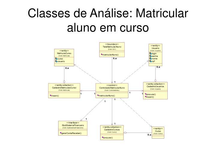 Classes de Análise: Matricular aluno em curso