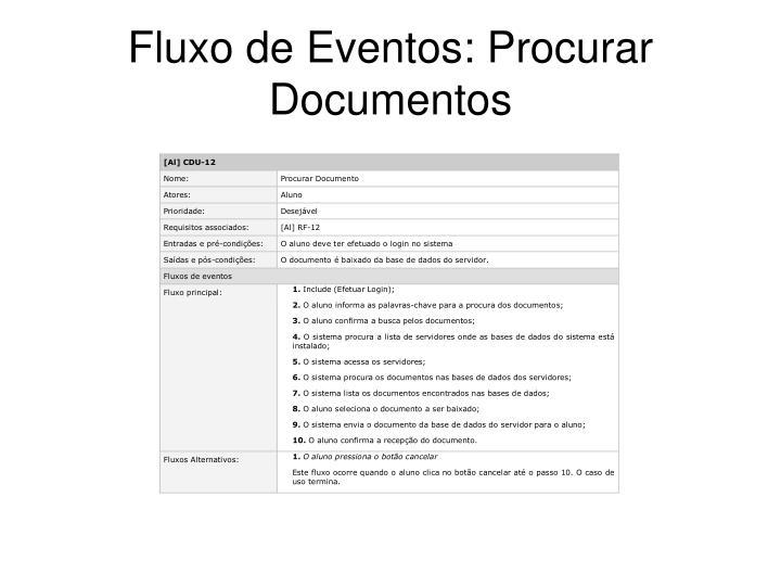 Fluxo de Eventos: Procurar Documentos