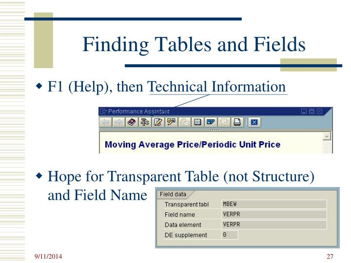 Finding Tables and Fields