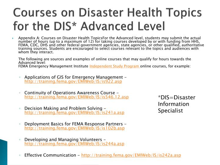 Courses on Disaster Health Topics for the DIS* Advanced Level