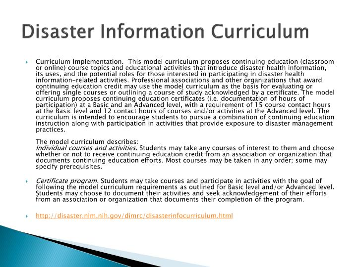 Disaster Information Curriculum