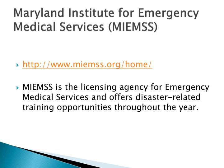 Maryland Institute for Emergency Medical Services (MIEMSS)