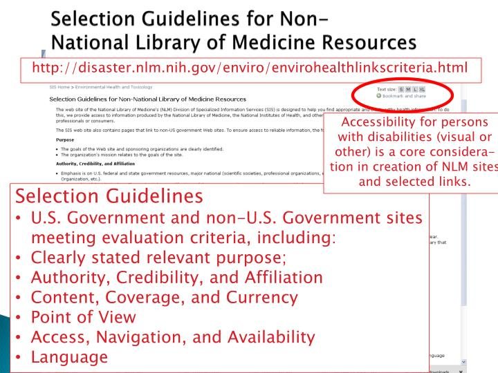 Selection Guidelines for