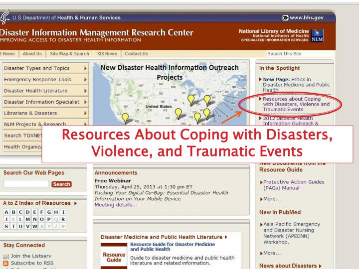 Resources About Coping with Disasters, Violence, and Traumatic Events
