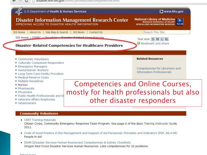 Competencies and Online Courses, mostly for health professionals but also other disaster responders
