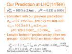 our prediction at lhc 14tev