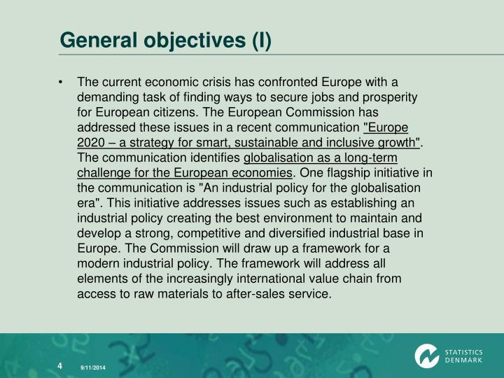 General objectives (I)