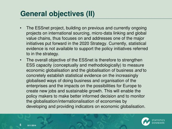 General objectives (II)