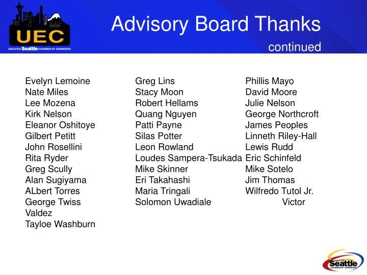 Advisory Board Thanks