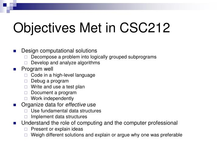 Objectives met in csc212