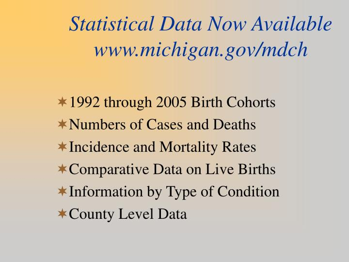 Statistical Data Now Available