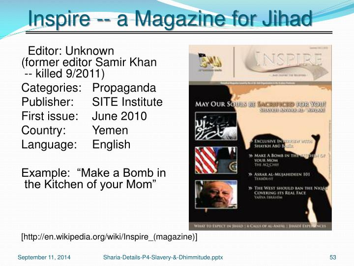 Inspire -- a Magazine for Jihad