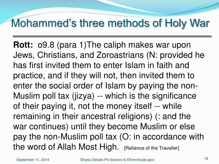 Mohammed's three methods of Holy War