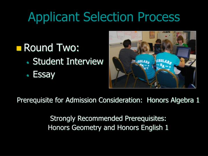 Applicant Selection Process
