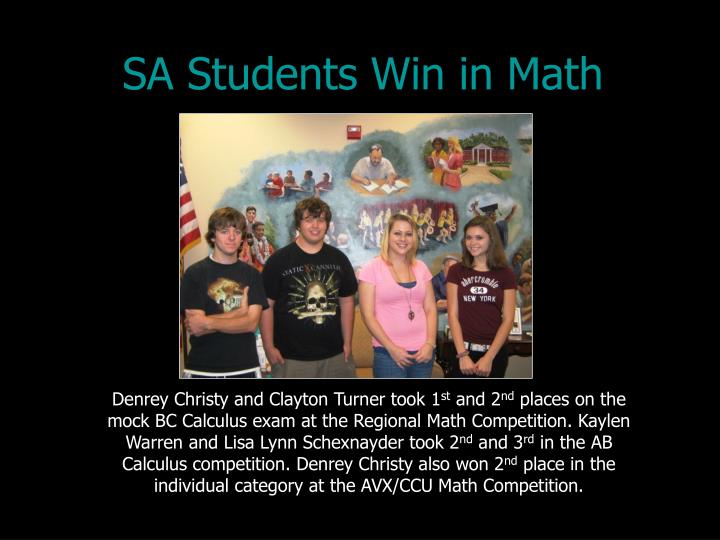 SA Students Win in Math